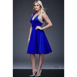 Jovani M512 Midi Dress Royal Blue